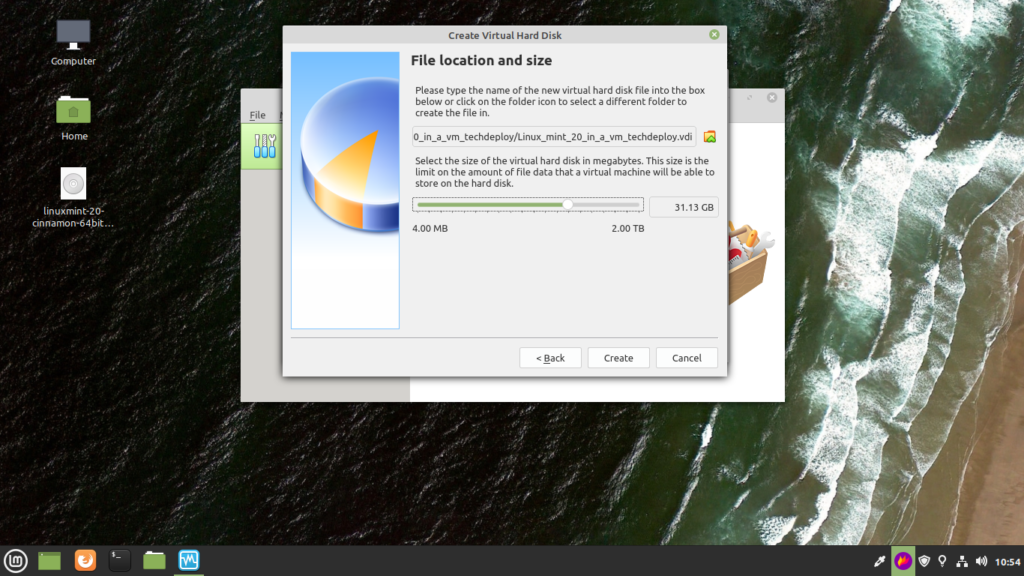 Select the size of your virtual hard disk. It should be over 5 GB.