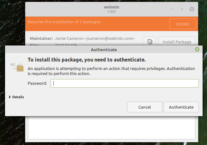 give permission to the webmin installer