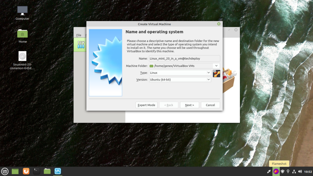Fill in the name of your virtual machine and choose version as ubuntu 64 bit.