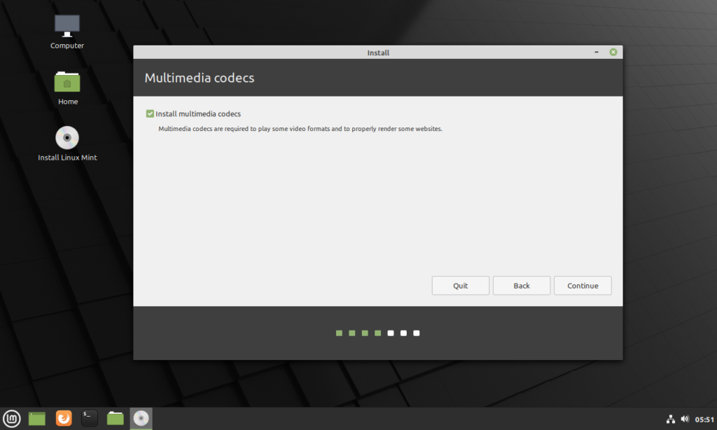 Select the install multimedia checkbox and press continue.