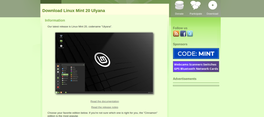 download linux mint 20 from linuxmint.com