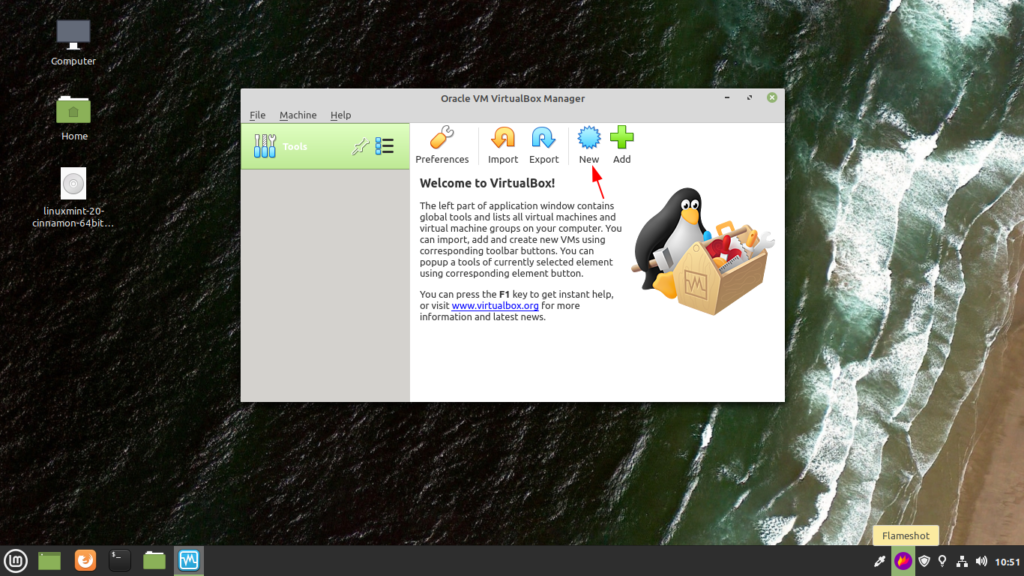 Click on the new button on virtualbox for setting up linux mint 20
