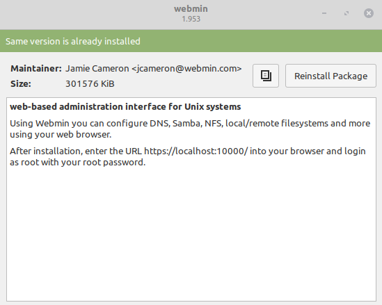 webmin installation completed on linux mint 20