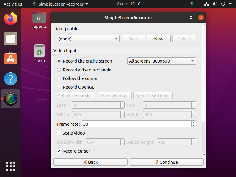 select required configuration for simple screen recorder and click continue.
