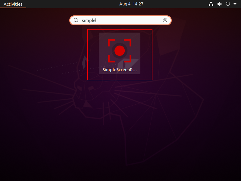 search simplescreenrecorder in the menu and launch it.