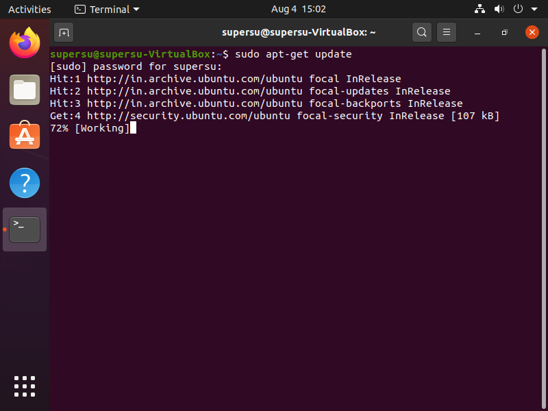 use command sudo apt-get update to update all system repositories