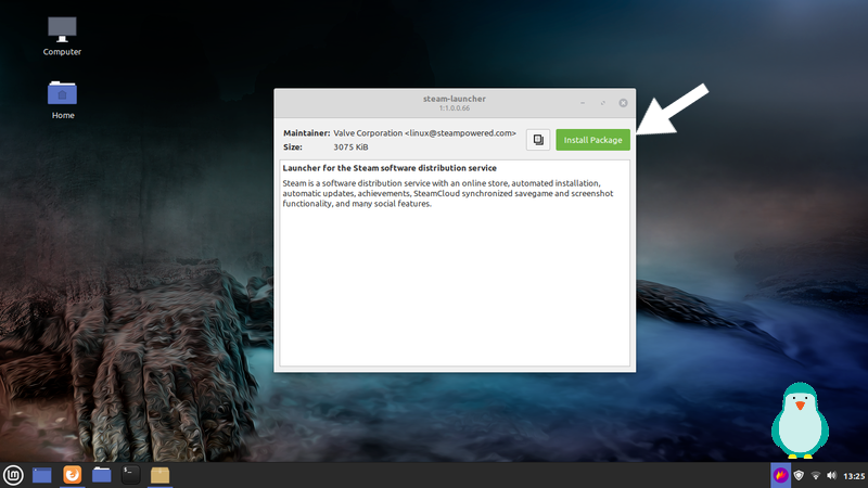 click install to install steam on linux mint 20