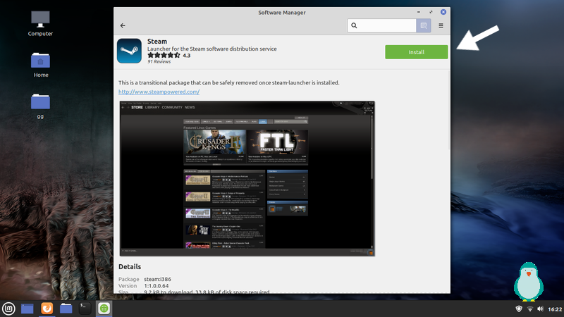 click on install steam