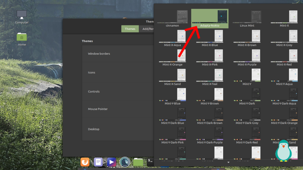 choose a theme for linux mint by clicking on it.