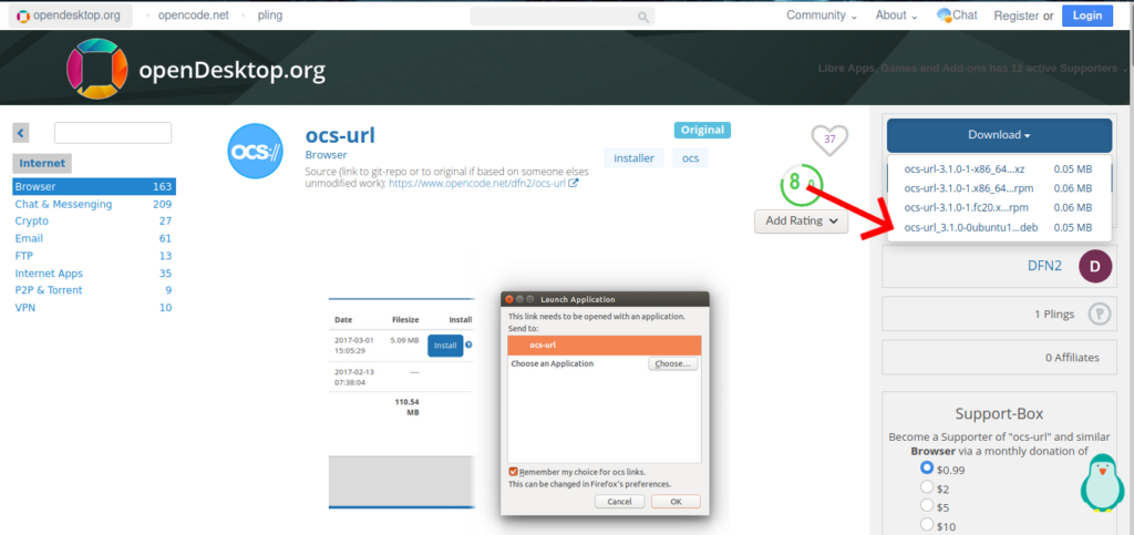 download ocs url from gnome-look