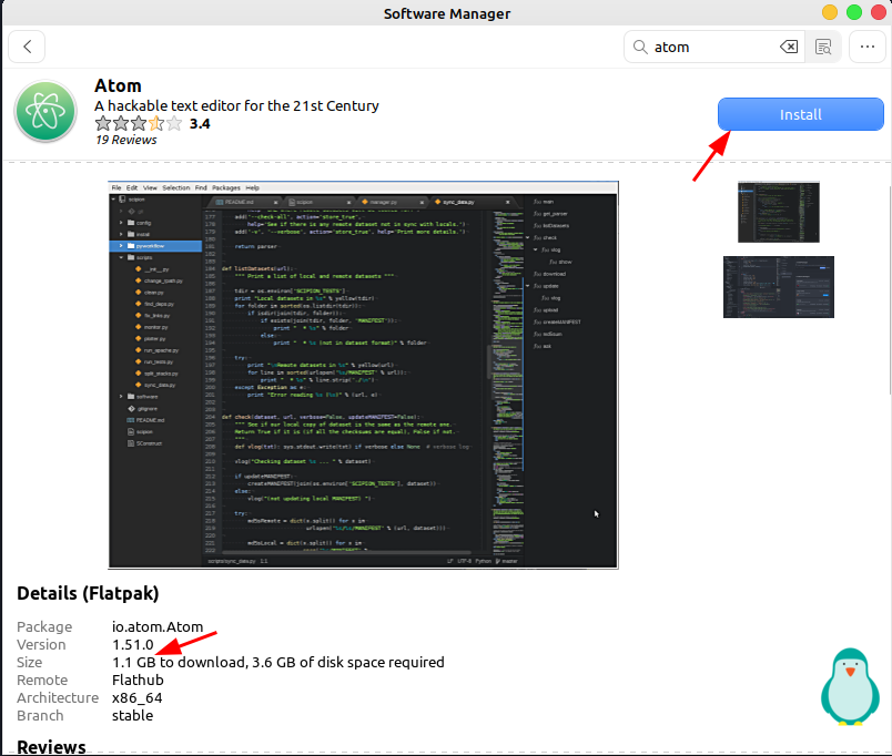 click on install button to install Atom