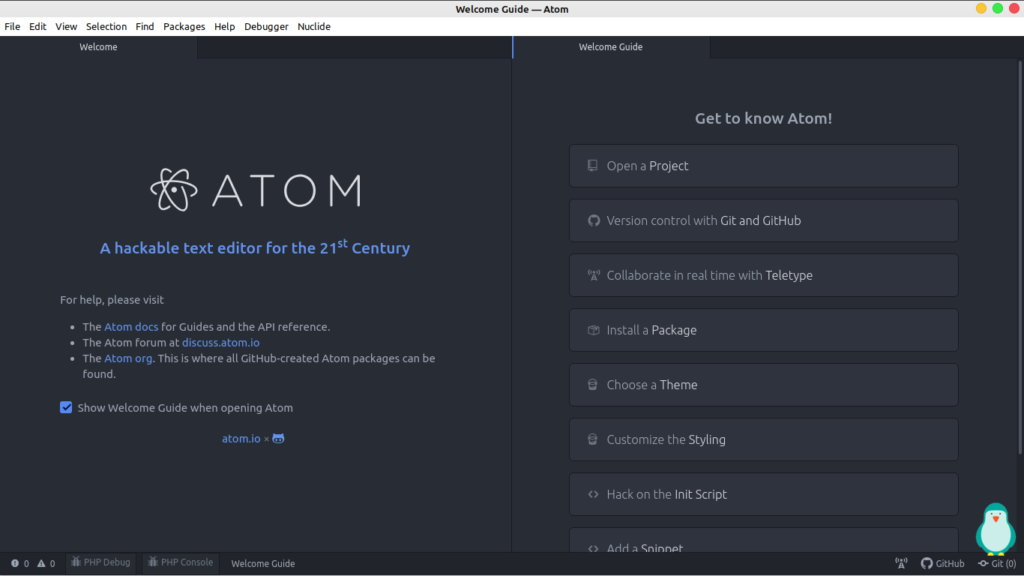 Atom text editor in linux mint 20 and ubuntu 20