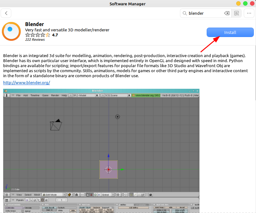 click on install button to install blender