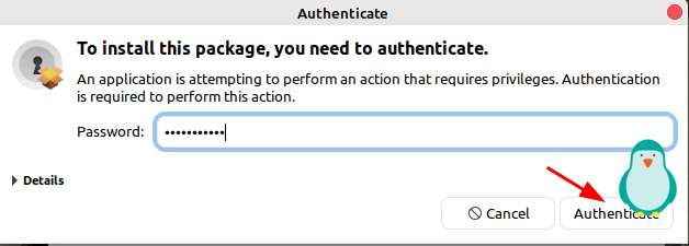 fill in your password to authenticate