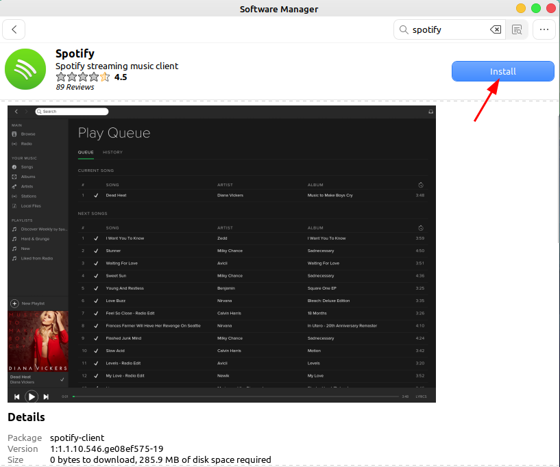 click on Install button to install Spotify