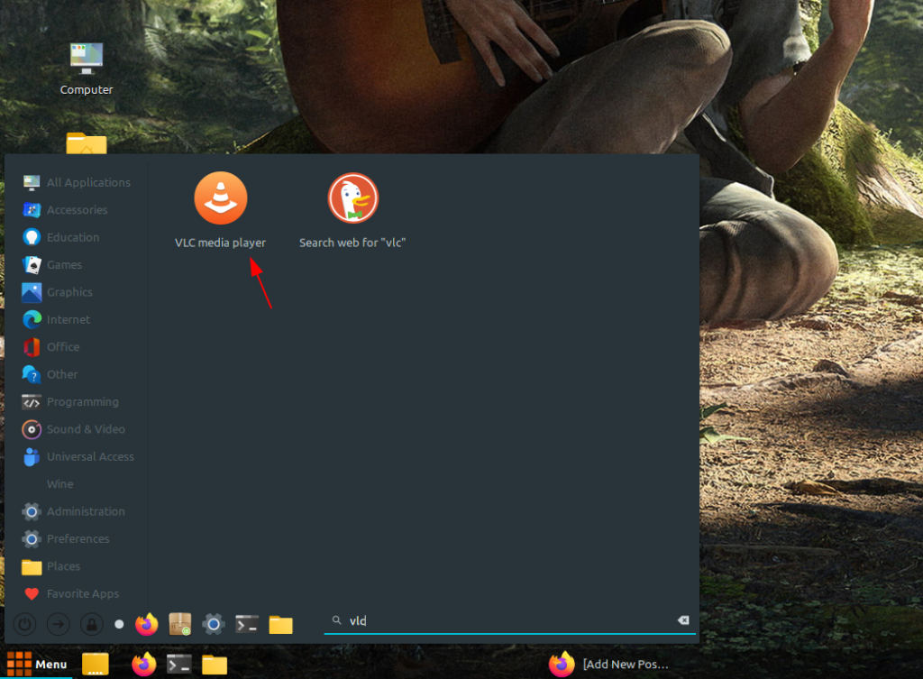 search and open vlc