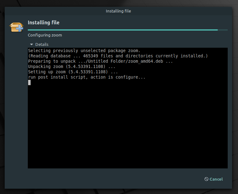 zoom installing on linux