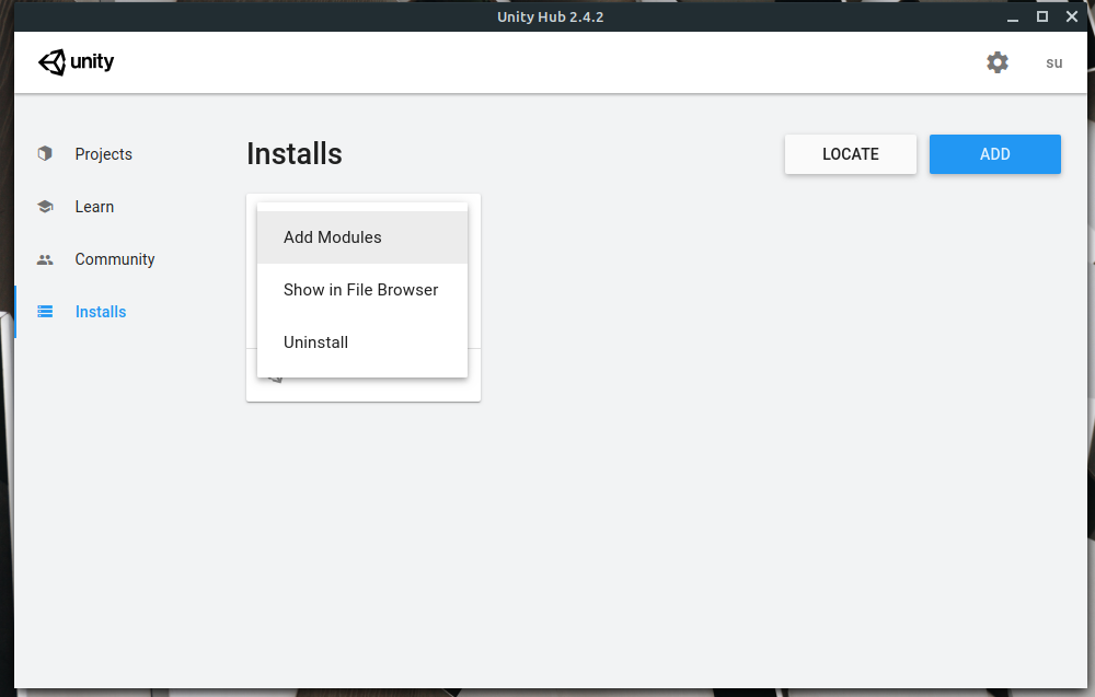 install additional modules in unity