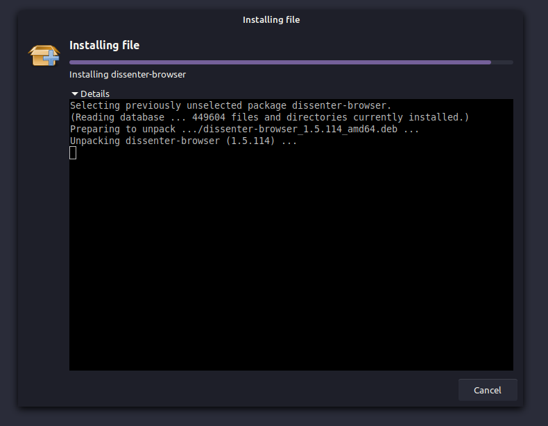 dissenter installed on linux mint 20