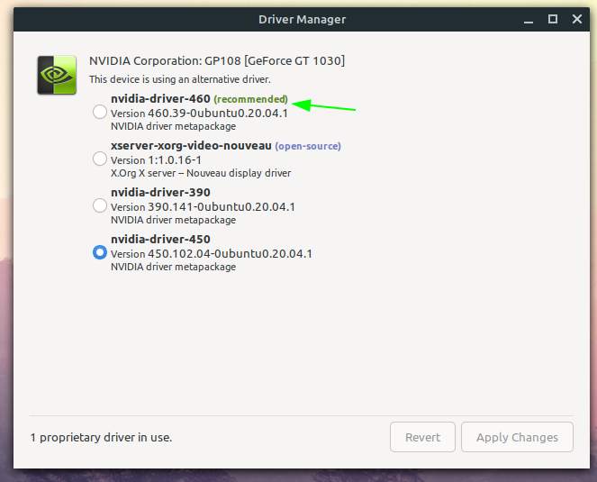 install the recommended nvidia driver