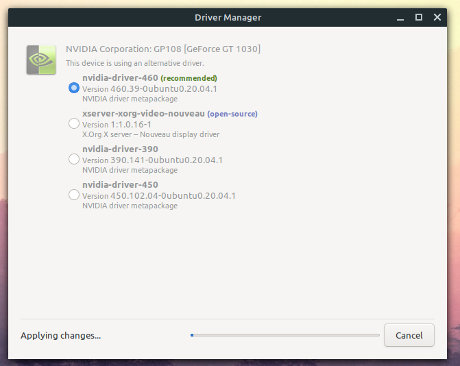 nvidia drivers installed on linux mint