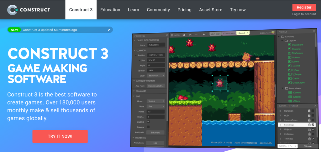 construct 3 game engine