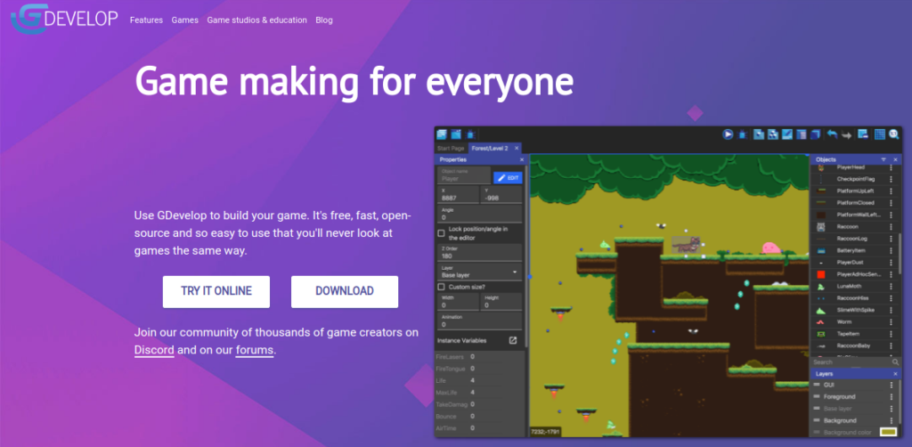gdevelop game engine for linux
